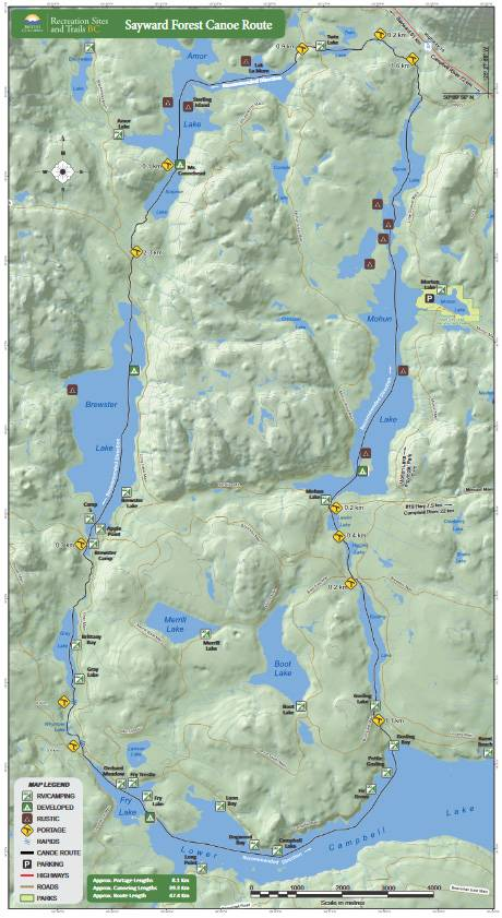 Sayward Forest Canoe Route Map